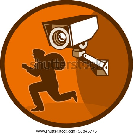 vector illustration of a burglar thief running with Security surveillance camera