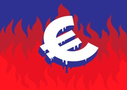 Vector illustration of a burning and melting Euro symbol in front of fire representing the economic and financial crisis in Europe.