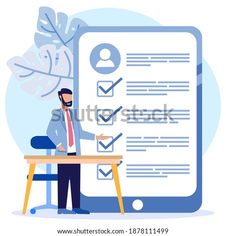 Vector illustration of a business concept. Job interview. Employee evaluations, appraisal forms and reports, performance review concepts. Stockfoto ©