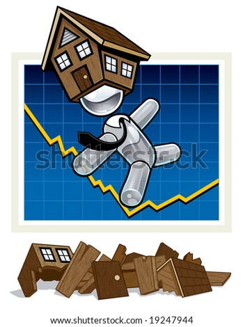 Vector illustration of a business man character depicting trouble with the housing market. Character is teetering on a graph showing a major loss. Several houses lay on the ground below in ruin.