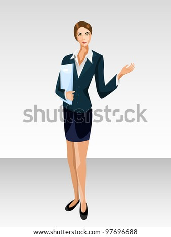 Vector illustration of a business women with folder in presentation pose.