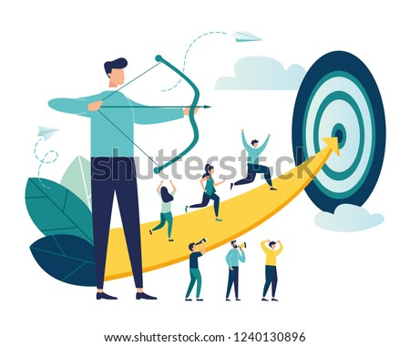 Vector illustration of a businessman archer aiming at a target, people run to their goal along the arrow to the cutter, raise motivation, the way to achieve the goal
