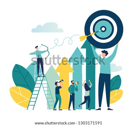 Vector illustration of a businessman archer aiming at a target, people run to their goal along the arrow to the cutter, raise motivation, the way to achieve the goal - Vector