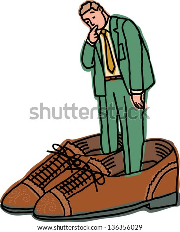 Vector Illustration Of A Businessman In Too Big Shoes