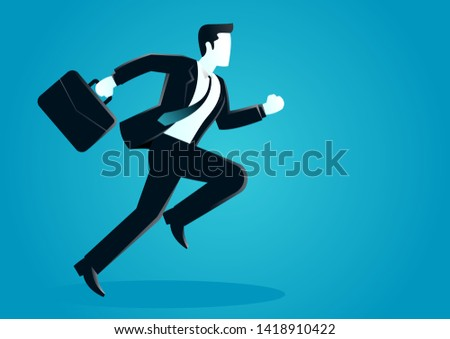 vector illustration of a businessman running with briefcase. business concept illustration #1418910422