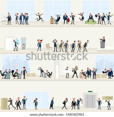 Vector illustration of a businessmen in big office