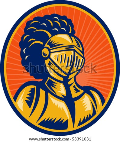 vector illustration of a Bust of Knight in full gear set inside a circle.