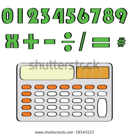 Vector illustration of a calculator and common mathematical numbers and symbols. For jpeg version, please see my portfolio.