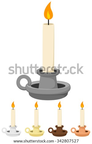 Vector illustration of a candle and holder, in five different colors.