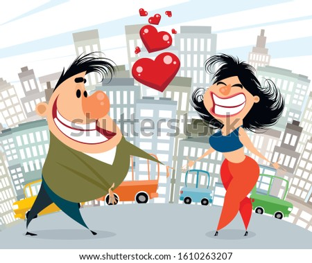 Vector illustration of a caricature of couple in love