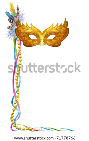 Vector illustration of a Carnival or Mardi Gras mask isolated on white.