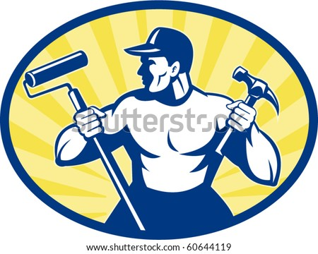 vector illustration of a carpenter painter with paint roller and hammer set inside ellipse retro style
