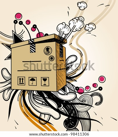 vector illustration of a carton box with secret content