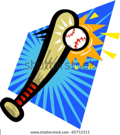 Vector illustration of a cartoon baseball bat hitting a baseball.