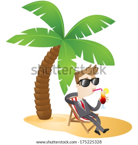 Vector illustration of a cartoon businessman sipping a cocktail sitting in a canvas chair underneath a palm tree on the beach (JPEG also available).