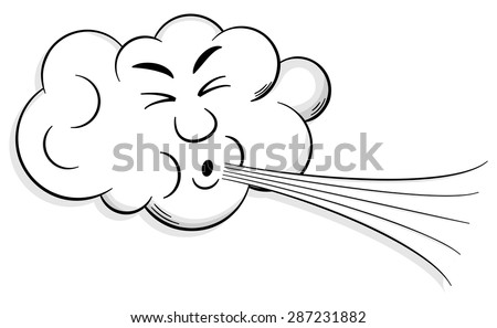 vector illustration of a cartoon cloud that blows wind Stockfoto ©