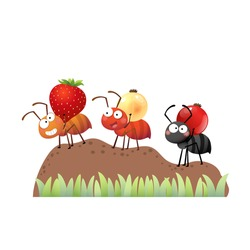 Vector illustration of a cartoon colony of ants carrying berries and walking on the pile of soil to the nest.