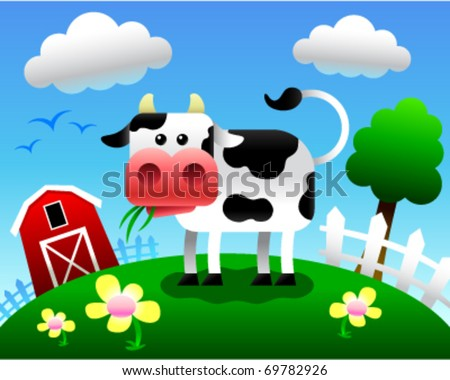Vector illustration of a cartoon cow eating grass in a farm setting.