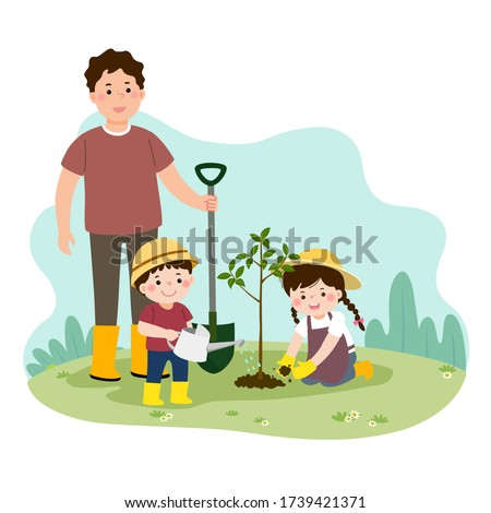 Vector illustration of a cartoon happy children helping their father planting the young tree. Family enjoying time at home concept. stock photo