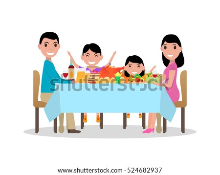 Vector illustration of a cartoon happy family at the festive dinner table. Parents and kids are sitting at a table with a nice meal. Isolated white background. Flat style. Holiday family table.