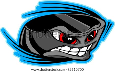 Vector Illustration of a Cartoon Ice Hockey Puck with a Face