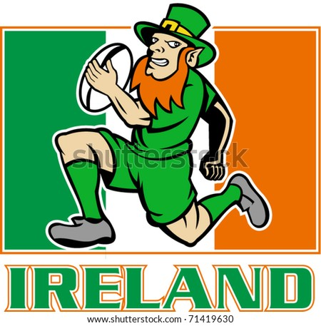 vector illustration of a cartoon  Irish leprechaun or rugby player running with ball wearing hat with flag of  Ireland in background