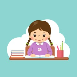 Vector illustration of a cartoon little girl reading a book on the desk.