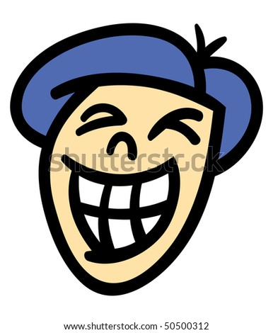 Vector illustration of a cartoon man's head and face with a big toothy smile