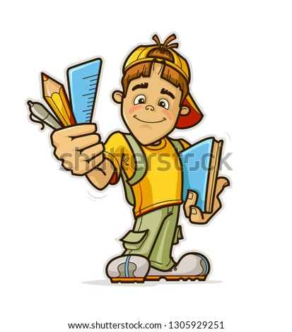 Vector Illustration of a Cartoon Schoolkid Holding a Book and a Pencil.