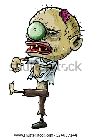 Vector illustration of a cartoon zombie with a grotesque green eye, cracked skull and ragged clothing isolated on white for your Halloween concept