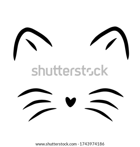 Vector illustration of a cat's face with whiskers and ears, a heart-shaped nose, on a white background Stock photo ©