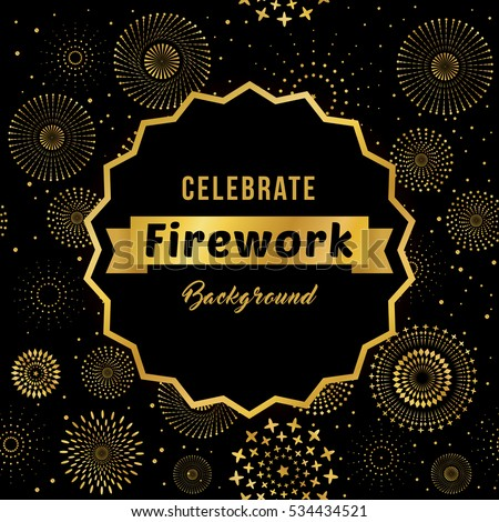Vector illustration of a celebrate fireworks display with text and ribbon for holiday and celebration background design.