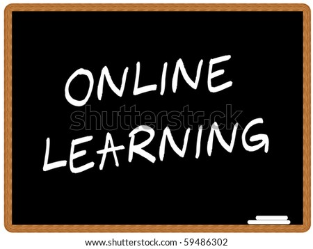 Vector illustration of a chalkboard with the text ONLINE LEARNING