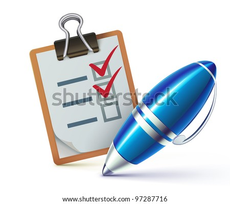 Vector illustration of a checklist on a clipboard with a elegant ballpoint pen checking off tasks - stock vector