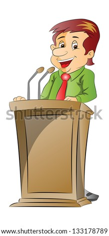 81ad9e32 Vector illustration of a cheerful businessman giving presentation at a  podium. #133178789. Get the best free stock ...
