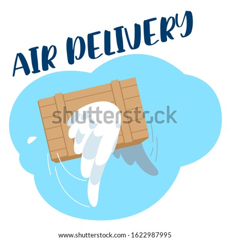 Vector illustration of a cheerful cartoon character an airplane takes off with a load to deliver a parcel. Stylized airplane rises into the sky in the clouds with a smile. Illustration about aviation