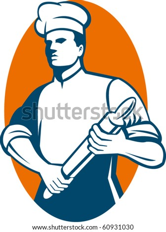 vector  illustration of a Chef cook or baker standing with rolling pin done in retro style.