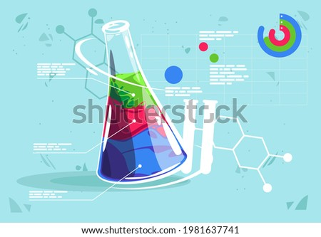 Vector illustration of a chemical flask with three different liquids, description of chemical liquids, graphic elements and graphs of chemical composition analysis
