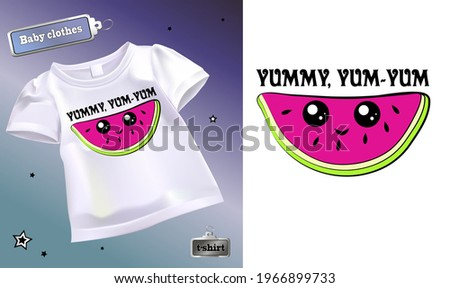 Vector illustration of a children's t-shirt with a pattern. Isolated image of cartoon watermelon slice. Cute slice of watermelon with eyes on a T-shirt. Stock fotó ©