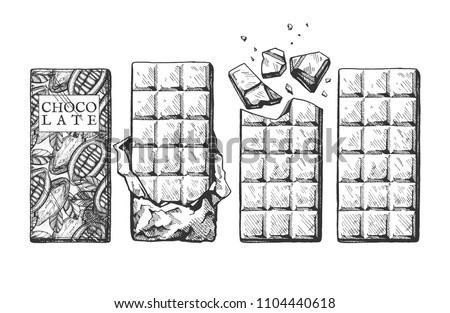 Vector illustration of a chocolate bars set. Wrapped in packaging bar with a cocoa beans print, in unwrapped foil, with large chunks, whole block. Vintage hand drawn engraving style.