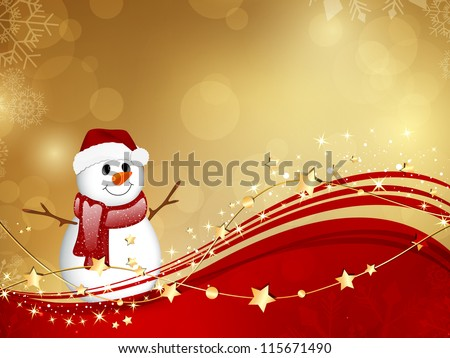 Vector Illustration of a Christmas Background with a Small Snowman