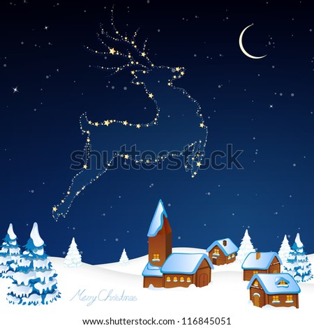 Vector Illustration of a Christmas Background with an Abstract Reindeer