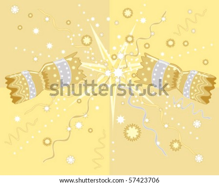 vector illustration of a Christmas cracker being pulled apart with stars and streamers on a golden background