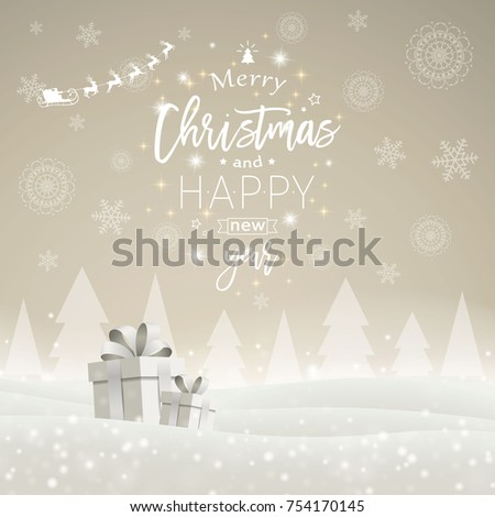 Vector Illustration of a Christmas Greeting Card Design with Snowflakes