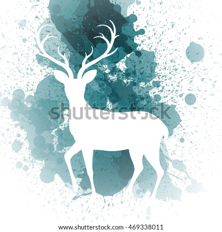 Vector Illustration of a Christmas Greeting Card with Reindeer
