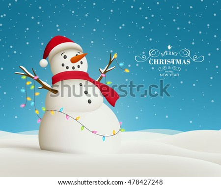 Vector Illustration of a Christmas Greeting Card with Snowman