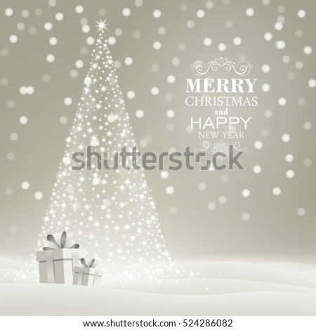Vector Illustration of a Christmas Holiday Design with Christmas Tree and Gift Boxes