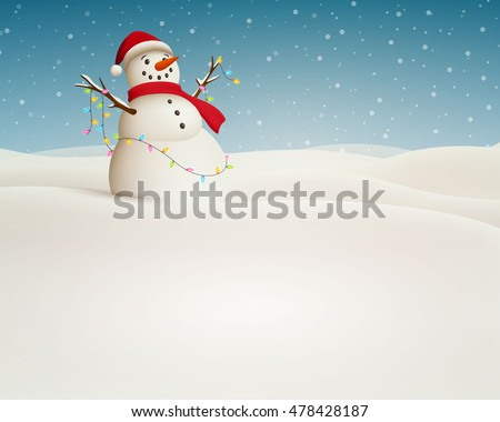 Vector Illustration of a Christmas Landscape with Snowman