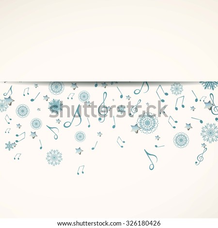 Vector Illustration of a Christmas Music Background with Music Notes and Stars