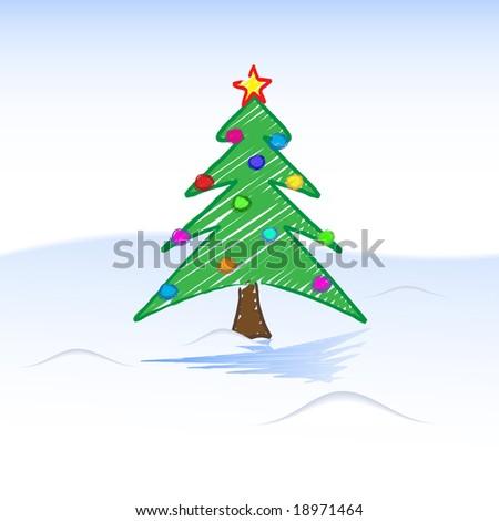 christmas tree clipart. christmas tree child-like